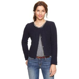 Gap Navy Wool Boucle Jacket with Leather Trim